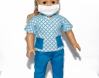 American made Girl Doll Clothes, 18 inch Doll Clothing, Turquoise Scrubs Outfit made to fit like American girl doll clothes