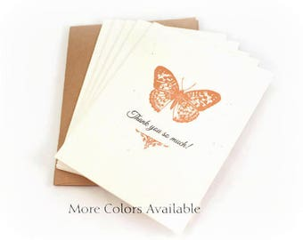 Thank You Cards, Butterfly,  Thank You So Much, Blank Note Cards, Thank You NOtes, Wedding Thank You Cards, Bridal Shower Thank You Notes