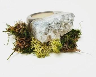 White/Grey Druzy Agate Ring Size 8
