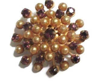 Rhinestone Brooch,   Purple and Chanpagne Pearl Pin.  Mid Century Jewelry,  1950s-1960s,  Gold Tone