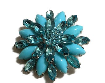 Rhinestone Brooch, Turquoise Pin, 1940s-1950s,  Lucite, Mid Century Jewelry, Silver Tone