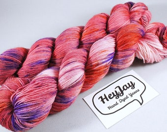 Hand Dyed Sock Yarn Superwash Merino - Salsa Salmon