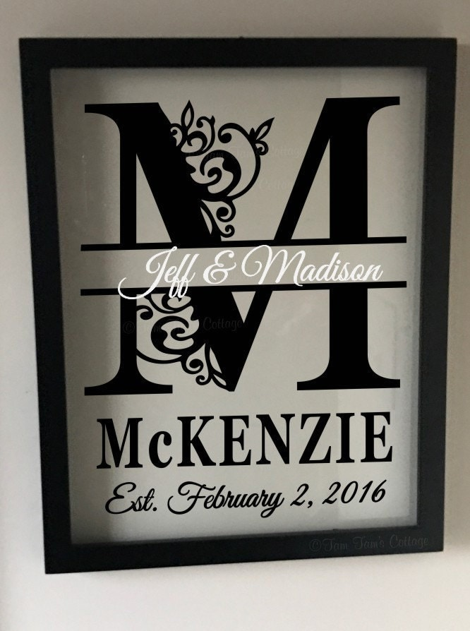 Personalized Wedding Gift Photo Frames : Personalized Floating Frame Split Letter Wedding Gift