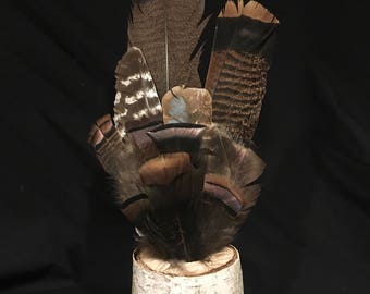 """Eastern Wild Turkey feather bouquet of 13 different feathers including tail, wing, and body 5-17"""" long-undyed cinnamon,brown,green,black"""