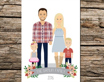 Custom illustrated  family portrait - Full body - family drawing