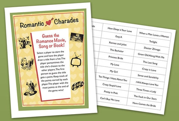 Bridal Shower Party Game Romantic Charades Printable PDF
