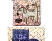 Quilted Monogram Mirror & Pouch set and Reusable Quart Dog Zipper Bag