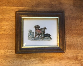 Antique Embossed Chromolithography, 3 Small Dogs