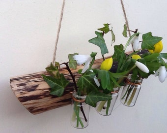 Hanging branch bud vases, Natural weathered Willow branch, Bud vase holder.