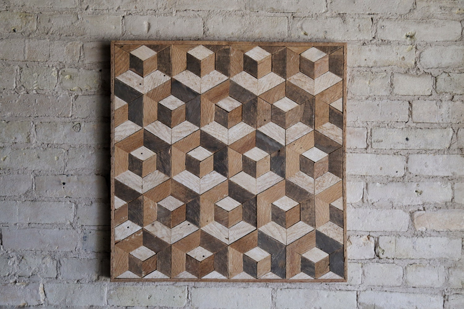 Reclaimed wood wall art wood decor reclaimed wood wood art reclaimed wood wall art wood decor reclaimed wood wood art rustic geometric wood decor handmade tesselation cube natural amipublicfo Choice Image