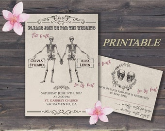 Skull Wedding Invite Etsy