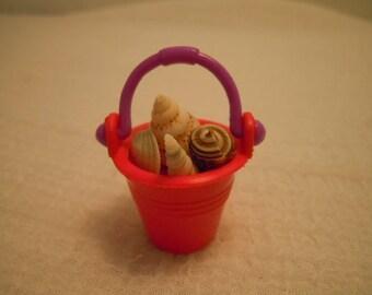 Miniature Sand Bucket ~ Shells ~ Beach ~ Bucket of Shells ~ Dollhouse Miniatures ~ Fairy garden ~ Miniature Accessories ~  Miniature Toys