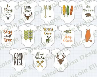 Digital Download - 13 Tribal/WoodlandBoho Onesie Banner