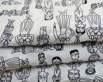 """Dressmaking Fabric Cotton Fabric For Sewing Designer White Cotton Human Print Sewing Craft 42"""" Wide Drape Dress Material By The Yard ZBC6464"""