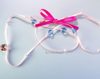 Pink Satin Bow Necklace Featuring Swarovski Aquamarine Beads & Swarovski Heart Pendant, Jewelry Gift, Birthday Gift.