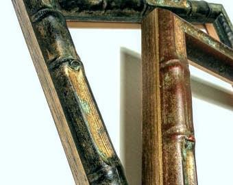 Bamboo Picture Frames, Verdigris Black Gold OR Copper Gold, Wood, Asian Picture Frames, Bamboo Photo Frames, 3x5,4x6,5x7,8x10,11x14,16x20