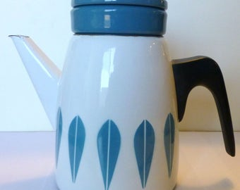 Beautiful Cathrineholm Lotus coffee pot white/turquoise