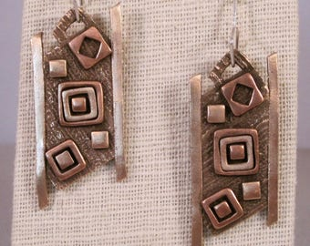 Rectangles and squares earrings, mixed metal earrings, copper jewelry, bronze jewelry, sterling silver ear wires, contemporary jewelry