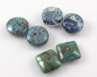 Destash, Blue and Green Lampwork Beads, Six Blue Green Glass Beads, Blue Teal Beads, Handmade Beads