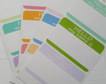 """12 Traditional """"Hello My Name Is"""" Stickers"""
