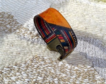 Leather cuff bracelet Size S/M