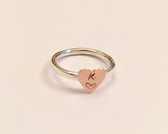 Heart initial ring, rose gold ring, delicate personalised ring, heart stacking ring, rose gold heart ring, heart jewellery
