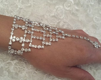 HAND CHAIN Rhinestone Bracelet with Ring
