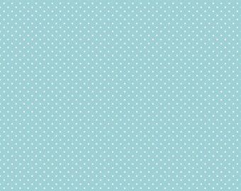 White on Aqua Swiss Dots by Riley Blake Designs - Blue Polka Dot - Quilting Cotton Fabric - by the yard fat quarter half