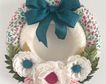 Felt flower yarn wreath, small wreath, double wreath