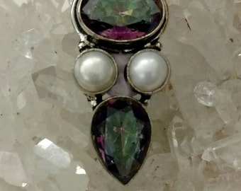 Mystic Topaz and Pearl Pendant Necklace