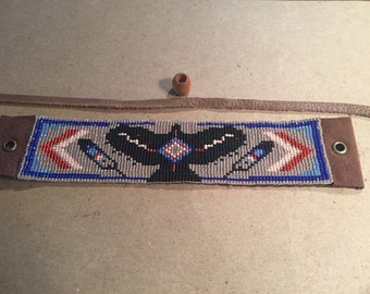 Hawk Totem, Native American, Red, Black, and Brown Opal /Gray, Delica Glass Loom Beaded, Leather Backed Bracelet