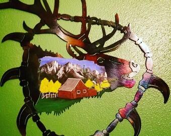 Elk, Elk wall hanging Elk wall decor, hand painted, mountain scenery, rustic elk,