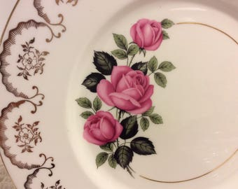Set of 6 Imperial Fine Bone China Dinner Plates Pink Roses Floral 22kt gold Vintage Retro