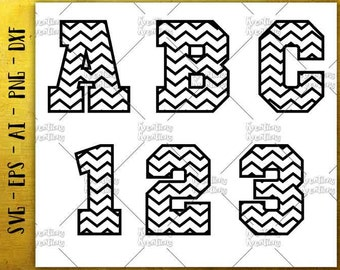 Chevron font Alphabet svg zigzag letters and numbers SVG cut cutting files Cricut Silhouette Instant Download vector svg png eps dxf