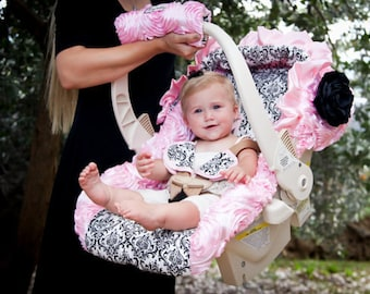 Baby Pink Roses and Black and White Damask Infant Car Seat Cover, Baby Girl Car Seat Covers, Baby Car Seat Covers, Infant Car Seat Covers