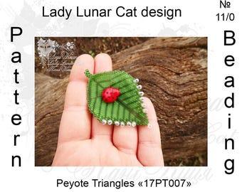 Leaf peyote patterns, Spring patterns, Nature patterns, Green patterns, Triangle Peyote pattern, Peyote stitch, Beading patterns, Beadwork