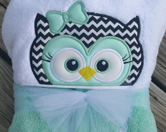 Girl Owl Hooded Towel with personalization