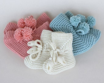 Hand knit baby booties Baby Booties with Pompons - size 0 to 24 Months - Baby Shoes Mary Jane Booties