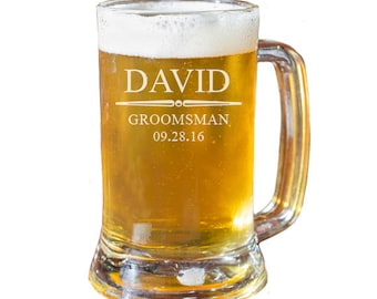 Beer Mugs for Groomsmen, Personalized Beer Mug, Custom Beer Mug, Engraved Beer Mug, Groomsmen Gift, Wedding Party Gifts