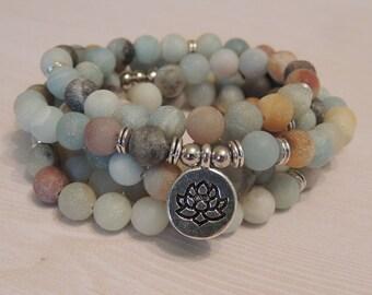 Amazonite Matt Gemstone - Mala 108 Bead Necklace or Wrap Bracelet - Lotus Flower Charm