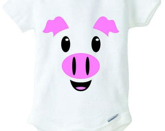 Pig Baby Onesie Design, SVG, DXF, EPS Vector files for use with Cricut or Silhouette Vinyl Cutting Machines