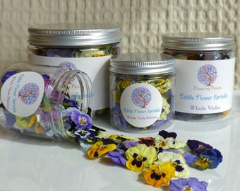 Edible Flower Sprinkle - Real Dried Viola Flowers - All Natural, Great For Weddings, Parties, Cake Decorating, Confetti, or Crafts!