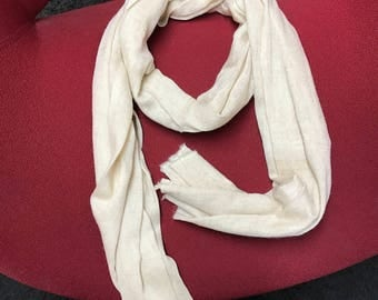 Handmade Nepalese Cashmere Scarf-cream white/ both for men and women
