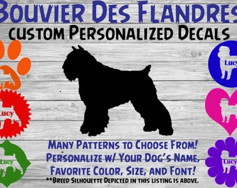 Bouvier Des Flandres Dog Personalized Silhouette Vinyl Decal - Dog Breed Decal-Car Window Decal-Pet Gift- Custom Sticker - Dog Name Sticker