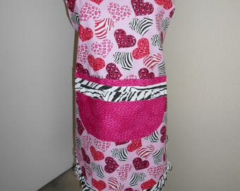 apron for valentine's day hearts and zebra