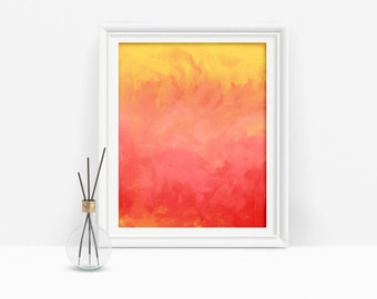 Red Abstract Printable Art, Red and Yellow Decor, Modern Red Art Download