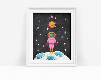 Printable Nursery Decor, Pink Astronaut Print, Outer Space Art, Kid's Decor, Digital Download
