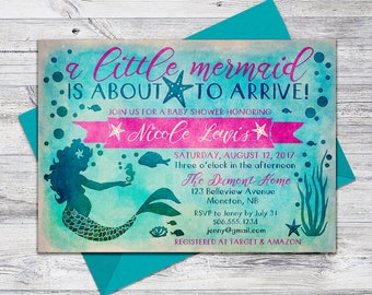 Printable Mermaid Baby Shower Invitation, Under the Sea Invite, 5x7 Digital File