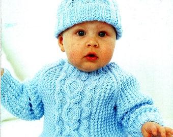 Original Baby Boy Knitting Pattern Sirdar 3183 Blue ARAN LayetteBlanket, Pram Set, Hat, Toddler, Doll, Cable, Cute, Pretty, Classic, Modern
