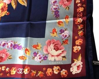 CHANEL CC floral silk scarf